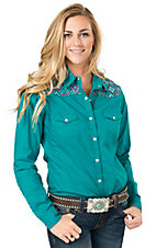 Panhandle Women's Turquoise with Aztec Embroidery Long Sleeve Western Shirt