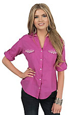 Panhandle Women's Solid Pink with Aztec Embroidery Long to 3/4 Sleeve Western Shirt