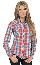 Panhandle Women's Orange & Blue Plaid with Embroidery Long to 3/4 Sleeve Western Shirt