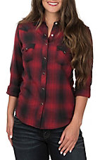 Panhandle Women's Red and Black Plaid with Saddle Stitch Long Sleeve Western Shirt