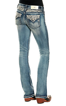 Miss Me Women's Light Wash Pearl Accented Slim Boot Cut Jean