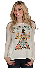 Vintage Havana Women's White Tribal Print Tie Back Top