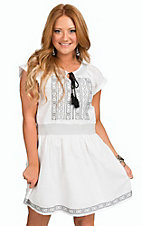 Panhandle Women's White Bayou Cutie Linen with Black Embroidery Short Sleeve Dress