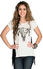 Vintage Havana Women's Ivory with Black Skull & Fringe Short Sleeve Tee