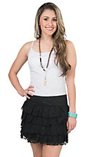 Panhandle Women's Black Lace Tiered Skirt