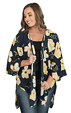 Peach Love Women's Navy with Yellow Floral Print 3/4 Bell Sleeve Kimono