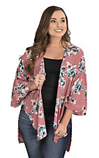 Peach Love Women's Mauve with Floral Print 3/4 Bell Sleeve Kimono
