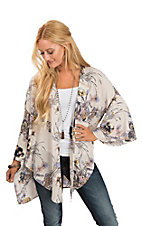 Peach Love Women's Cream Multi-Color Floral Kimono