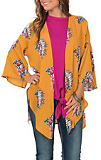 Peach Love Women's Mustard Floral Headdress Print Kimono
