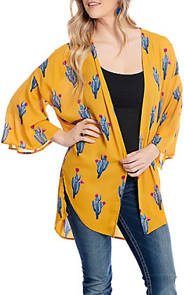 Berry N Cream Women's Mustard Cactus Print Kimono