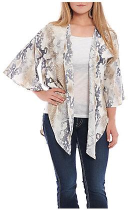a1ba1c1aa Berry N Cream Women's Snake Print Tie Front Kimono