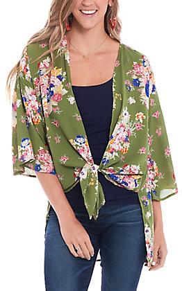 Peach Love Women's Olive Multi Floral Print Kimono