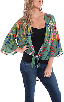 Peach Love Women's Green Multi Floral Print Kimono