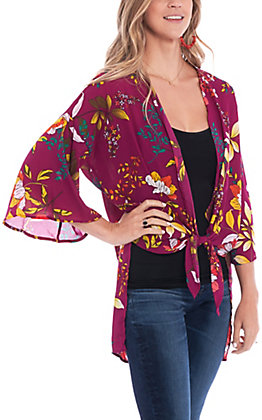 Peach Love Women's Magenta Multi Floral Print Kimono
