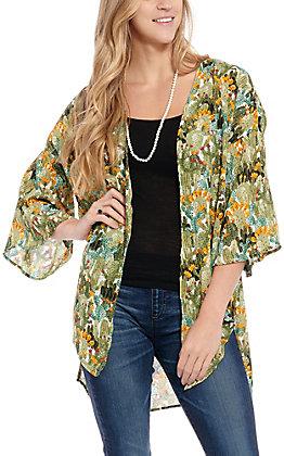 Green Multi Cactus Print 3/4 Sleeves Kimono