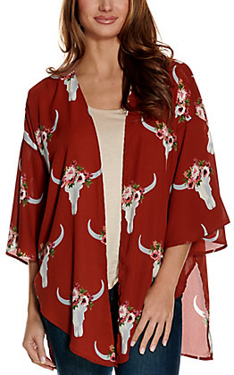 Berry N Cream Women's Rust with Floral Skull Print 3/4 Sleeve Kimono