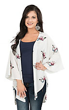 Peach Love Women's White Floral Skull Print Long Sleeve Kimono