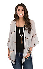 Fantastic Fawn Women's Light Grey/Taupe Skull Print Kimono