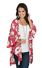 Peach Love Women's Red Multi 3/4 Bell Sleeve Floral Kimono