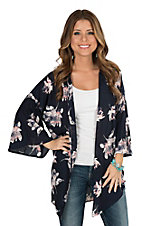 Peach Love Women's Navy Multi Floral Print 3/4 Bell Sleeve Kimono