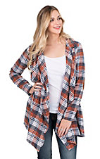 Fantastic Fawn Women's Blue, orange, and Brown Plaid Long Sleeve Cardigan