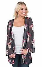 Peach Love Women's Navy with Red and Cream Floral Steer Head Print Long Sleeve Kimono