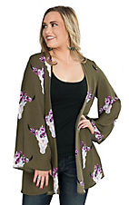 Peach Love Women's Olive with Lavender and Cream Floral Steer Head Print Long Sleeve Kimono