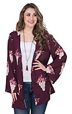Peach Love Women's Burgundy with Pink Floral Steer Head Print Long Sleeve Kimono