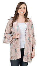 Peach Love Women's Blush Feather Print Long Bell Sleeve Kimono