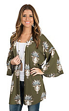 Peach Love Women's Olive Skull Headdress Long Bell Sleeve Kimono