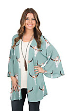 Peach Love Women's Sage Skull Print Long Bell Sleeve Kimono