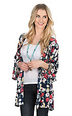 Peach Love Women's Navy Floral Print Long Bell Sleeve Kimono