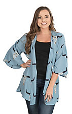 Peach Love Women's Dusty Blue Skull Print 3/4 Bell Sleeve Kimono
