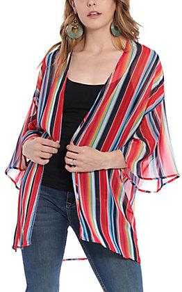 Peach Love Women's Fuschia Serape Stripe Kimono