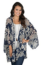 Peach Love Women's Chiffon Navy and Grey Floral Print Long Bell Sleeve Kimono