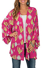 Peach Love Women's Fucshia & Green Cactus Tribal Print Kimono