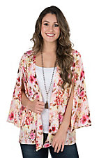 Peach Love Women's Pink Multi Floral Long Split Sleeve Kimono