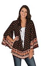 Peach Love Women's Orange & Black Border Print Kimono