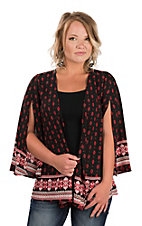 Peach Love Women's Black & Red Border Kimono