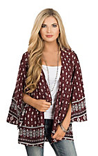 Peach Love Women's Maroon & White Border Print Kimono