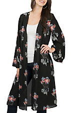 Berry N Cream Women's Black Rust Dream Catcher Kimono
