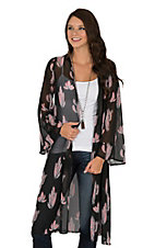 Berry N Cream Women's Black and Mauve Cactus Print Long Sleeve Kimono