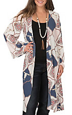 Peach Love Women's Ivory, Pink & Navy Skull Medallion Print 3/4 Sleeve Duster Kimono