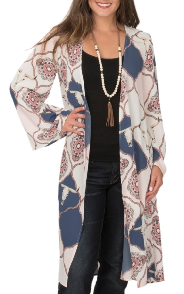 Discount Peach Love Women\'s Ivory, Pink & Navy Skull Medallion Print 3/4 Sleeve Duster Kimono for sale iP5ZciJJ