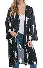 Berry N Cream Women's Black Skull Print Duster