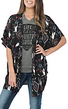 Peach Love Women's Black Aztec Feather Kimono