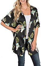 Berry N Cream Women's Black Palm with Skulls Kimono