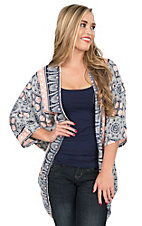 Peach Love Women's Navy, White, and Coral Multi Print 1/2 Sleeve Kimono