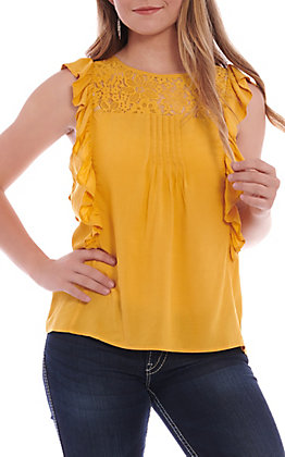 Panhandle Women's Mustard Ruffle With Lace Tank
