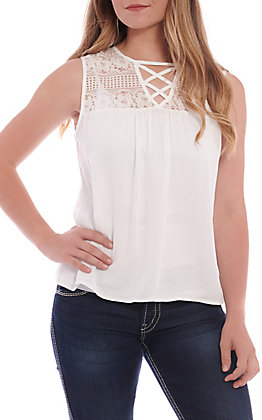 Panhandle Women's Sold White Lace Yokes Tank Top